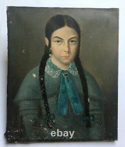 Tableau ancien signé et daté, Huile sur toile, Portrait de jeune fille, XIXe