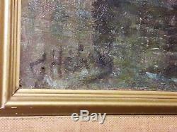 Tableau ancien signé huile Le Havre port remorqueur avant guerre