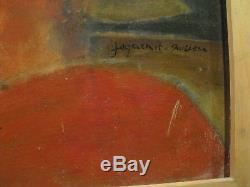 Tableau ancien signé, huile, portrait de femme, esprit année 40/50
