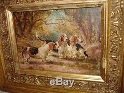 Tableau ancien sous bois avec chien basset chasse huile sur bois beau cadre