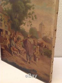 Tableau ancien suiveur Van Ostade Huile toile Fête Villageoise signé J. TALLON