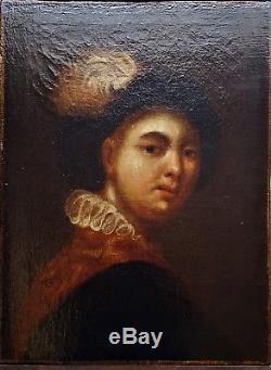 Tableau ancien superbe portrait baroque école du 18ème
