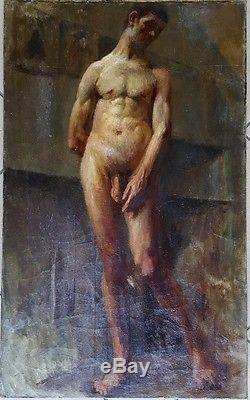 Tableau ancien superbe portrait d'homme nu / académie et atelier