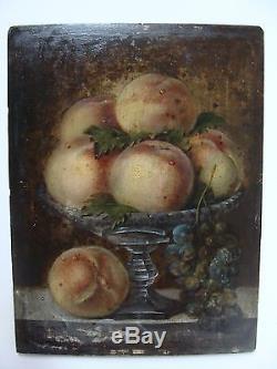 Tableau ancien sur panneau nature morte aux pêches et raisins