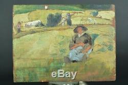 Tableau ancien travaux des champs Boeufs Sennelier pays basque N°8 hsp atelier