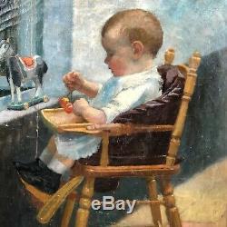 Tableau ancien, un bébé sur sa chaise année 30