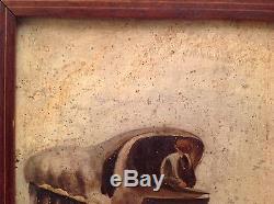Tableau ancien vers 1850 La Diligence Rouen Le Havre Postillon Chevaux Huile