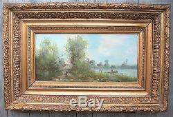 Tableau ancien vers 1900 Au bord de l'eau Beau cadre doré Barbizon Galien-Laloue