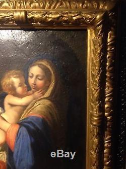 Tableau ancien vierge à l'enfant peinture sur cuivre 17ème