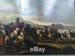 Tableau ancien xviiième cavaliers chevaux femmes et enfants french school