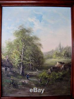 Tableau ancienne huile sur toile paysage campagne chaumière Barbizon XIXe