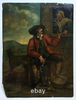 Tableau de chasse ancien, Huile sur panneau, La pause du chasseur, XVIIIe