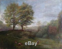 Tableau huile ancien sur toile 19ème Paysage d'été Lavandières