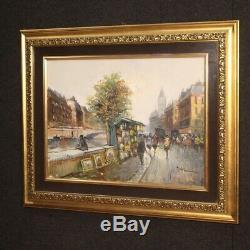 Tableau huile sur toile peinture vue de Paris paysage signé style ancien 900