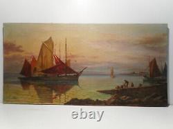 Tableau marine ancien peinture mer océan vieux gréement cote bretonne Bretagne