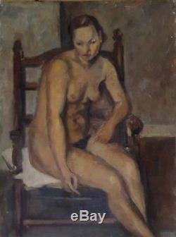 Tableau nu ancien portrait de femme