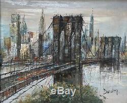 Tableau peinture Cadre 20è XXè S. Duchamp Pont Brooklyn Architecture Rare Ancien