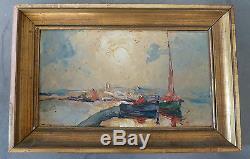 Tableau peinture ancien huile couteau port marine cannes signe louis pastour
