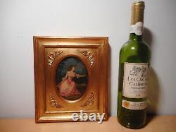 Tableau peinture ancienne 19 siècle femme Madame Dugazon comédienne chanteuse