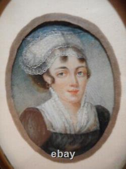 Tableau peinture ancienne miniature 19 siècle portrait buste jeune femme