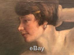 Tableau peinture ancienne nu au miroir Émile Vauthier 1925