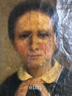 Tableau peinture ancienne portrait de femme XIXe