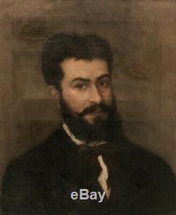 Tableau peinture ancienne portrait dhomme XIXe