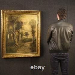 Tableau peinture huile sur toile ancien paysage signé avec cadre 19ème siècle