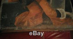 Tableau peinture huile sur toile ancien à restaurer