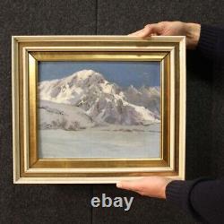 Tableau peinture huile sur toile paysage montagne style ancien cadre signé 900