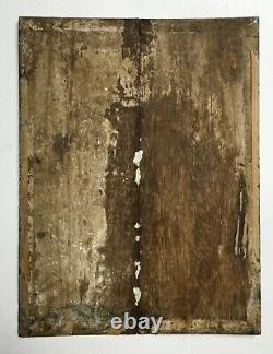 Tableau religieux ancien, Huile sur panneau, Pénitente, Vanité, XIXe ou avant