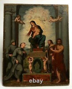 Tableau religieux ancien, Huile sur papier marouflé sur carton, XIXe