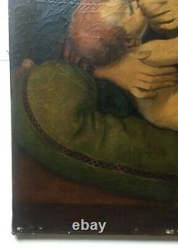 Tableau religieux ancien, Huile sur toile, Vierge à l'enfant, XIXe ou avant