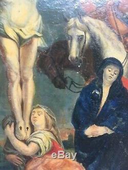 Tableau religieux ancien, Huile sur vélin, Scène religieuse, XVIIIe