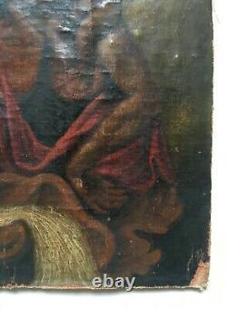 Tableau religieux ancien, Saint Christophe, Huile sur toile, XIXe ou avant