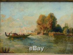 Tableau romantique ancien HST paysage lagune de Venise et gondole devant un parc
