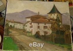 Tableau signé ancien HST vue de Sare Eglise 1909 Pays Basque