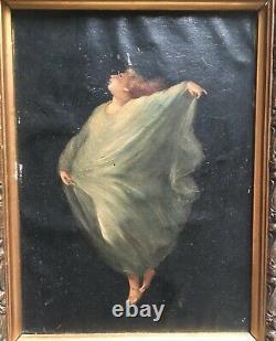 Tableau symboliste ancien, Huile sur papier, Italie Allégorie, Femme, XIXe