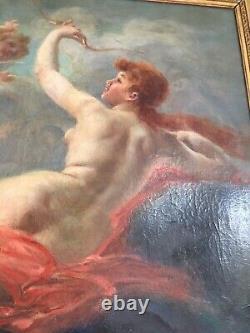 Tableau toille peinture Ancien Huile Signe Adolphe LALYRE