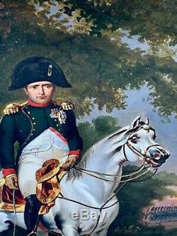 Tableaux Anciens Napoléon Historique Huile Sur Papier Empire Armée Chevalier