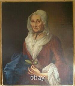 Tableaux Anciens XVIII Portrait Femmes Aux Citrons Vert Huile Sur Toile