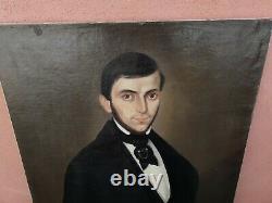 Tableaux ancien Portrait homme huile sur toile homme et femme
