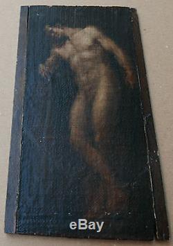 Très Ancien Petit Tableau Huile Nu Masculin Homme Académie XVIIe à identifier