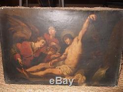 Très beau tableau Ancien Huile sur toile Saint Sébastien