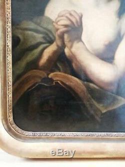 Tres Beau Tableaux. Ancien Xix. Marie Madeleine En Penitence Cadre Dore