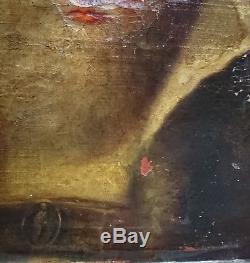 Très beau tableau ancien XVIIIe portrait homme au chapeau H / T à restaurer