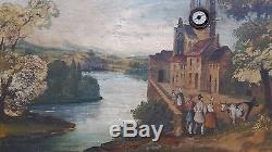 Tres beau tableau ancien peinture a l huile avec horloge pendul boite a musique