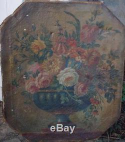 Tres beau tableau italien fleurs 17eme ou 18eme siècle ancien a restaurer
