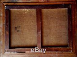 Trés grand tableau ancien de marine 19ème bateau en mer agitée signé