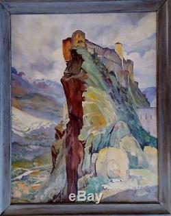 Trés grand tableau ancien paysage de Corse le nid d'aigle Corte signé
